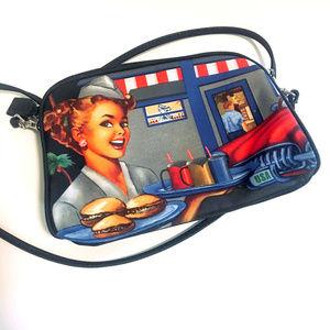 Retro 1950s Waitress Hamburger CrossBody Purse Bag